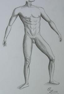 Männlich, Bleistiftzeichnung, Zeichnung, Akt
