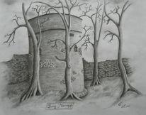 Burg, Bleistiftzeichnung, Zeichnungen