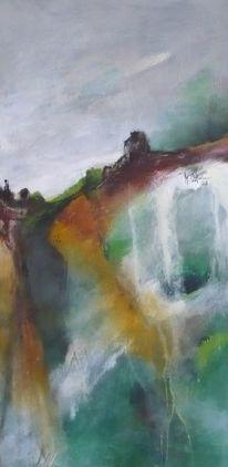 Gelb, Abstrakte malerei, Abgrund, Grün
