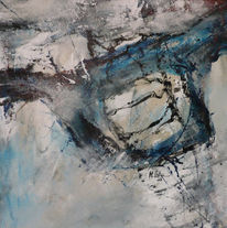 Schwarz weiß, Blau, Abstrakt, Malerei