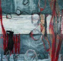 Beige, Abstrakte malerei, Rot schwarz, Grau