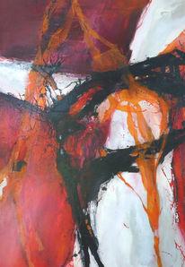 Abstrakt, Orange, Malerei, Sommer