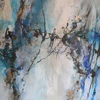 Türkis, Malerei, Abstrakt, Schwarz weiß