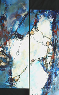 Blau, Türkis, Malerei, Weiß