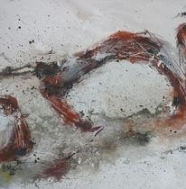 Abstrakte malerei, Schwarz weiß, Braun, Herbstfarben
