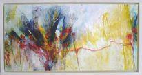 Abstrakte malerei, Blau, Blumen, Frühling