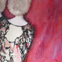 Menschen, Beige, Frau, Rot schwarz