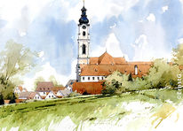 Klosterkirche, Kloster, Aquarell
