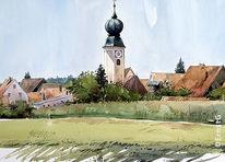 Kirche, Ortschaft, Landschaft, Architektur