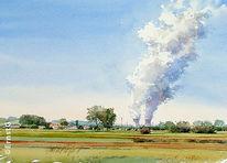 Kernkraftwerk, Kühltürme, Landschaft, Malerei