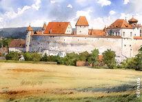 Harburg, Burg, Bauwerke, Aquarell