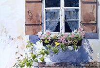 Landschaft, Bauernhof, Gebäude, Aquarellmalerei