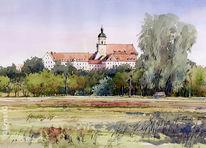 Moorlandschaft, Kloster, Aquarell