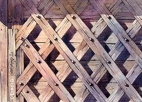 Holzbearbeitung, Niederbayern, Handwerk, Aquarell
