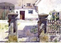 Bauernhof, Aquarellmalerei, Landschaft, Gebäude