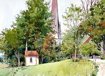 Kapelle, Kirche, Aquarell