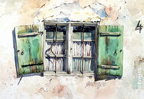 Fenster, Bauernhof, Marode, Aquarell