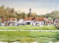 Gebäude, Aquarellmalerei, Landschaft, Bauernhof