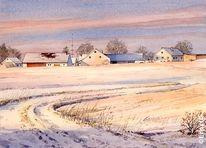 Schnee, Ortschaft, Landschaft, Aquarell