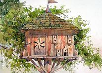 Taube, Bauernhof, Malerei,