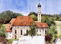 Wallfahrtskirche, Violau, Kirche, Aquarell