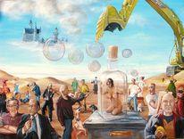 Seifenblasen, Familie, Gemälde, Illusion