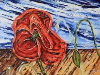 Mohn, Blumen, Feld, Malerei