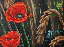 Feld, Blumen, Mohn, Malerei