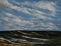 Wolken, Zugvögel, Ostsee, Meer