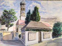 Kirche, Stephanus, Hohenbrunn, Aquarell