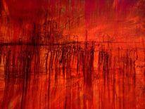 Ölmalerei, Abstrakt, Oktober, Rot