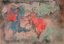 Zerstörung der erde, Welt, Malerei, Surreal