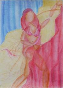 Pastellmalerei, Tuch, Abstrakt, Pink