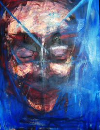 Malerei, Kopf, Schlaf, Blau