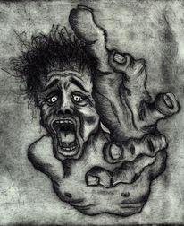 Hilfe, Radierung, Gesicht, Angst