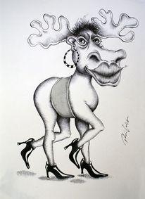 Kuh, Cartoon, Karikatur, Elchkuh