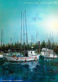 Schiff, Landschaft, Boot, Wasser