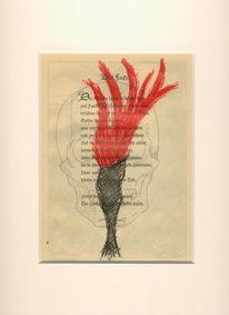 Zeichnung, Abstrakt, Aquarellmalerei, Schädel