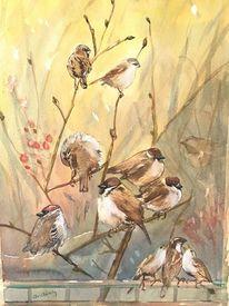 Vogel, Aquarellmalerei, Landschaft, Aquarell