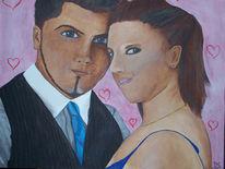 Liebe, Paar, Portrait, Hochzeit