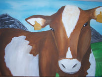 Bauernhof, Kuh, Tiere, Malerei