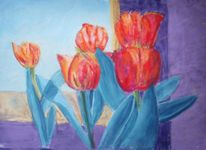 Tulpen, Gelb, Violett, Rot