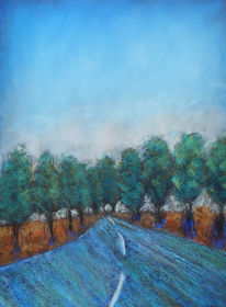 Blau, Baum, Grün, Pastellmalerei