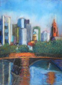 Skyline frankfurt, Main, Dom, Pastellmalerei