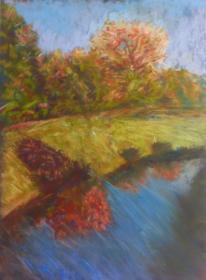 Pastellmalerei, Baum, Herbst, Sonnenschein