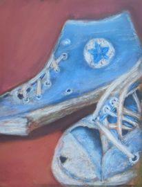 Blau, Schuhe, Pastellmalerei, Zeichnungen
