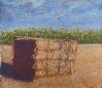 Heu, Pastellmalerei, Heuballen, Landschaft im sonnenschein