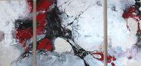 Acryl auf leinwand, Weiß, Abstrakt, Grau