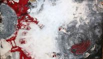 Kreis, Struktur, Rot schwarz, Acrylfarbe auf holz