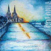 Treppe, Kölner dom, Blau, Köln